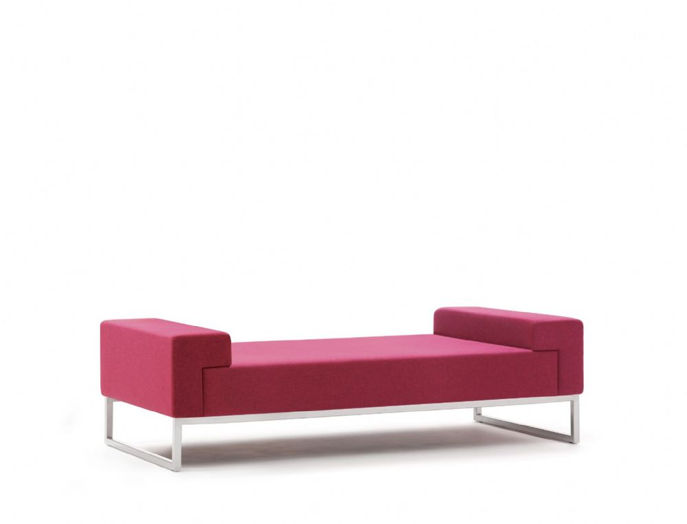 Pledge Hub Upholstered Two Seat Bench With Steel Underframe
